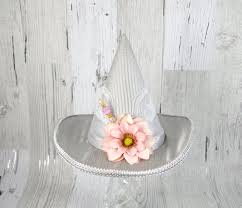 Paper Flower Hats Silver Gray And Pink Paper Flower Mini Witch Hat Halloween Festival Hat Derby Hat