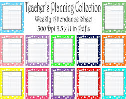 Attendance Teacher Planning Collection Weekly Attendance Sheet Pack 12 Different Colors Instant Download Printable Pdf Not Editable