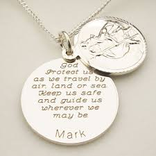 sterling silver personalised round st christopher with travellers prayer optional engraving