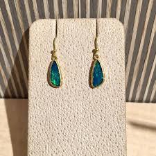 artisan petra class blue green australian opal gold doublet handmade dangle drop earring for