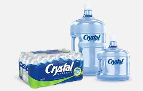 single serve bottled water and 3 and 5 gallon bottles from crystal springs