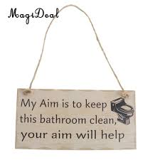 magideal wooden plaque sign bathroom word board reminder hanging decor my clean aim