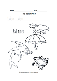 Small Picture Color Blue Coloring Pages Preschool Reading Writing Worksheets The