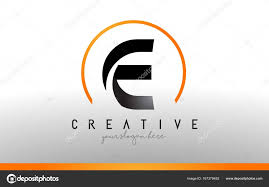 e brief logo ontwerp met zwarte oranje kleur cool moderne i t stockvector