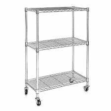3 tier chrome wire shelving rack heavy duty cart unit w casters shelf wheels