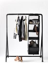 ... Wardrobe Racks, Ikea Garment Rail Clothes Hanging Rail Black Standing  Clothes Rack With Single Rod ...