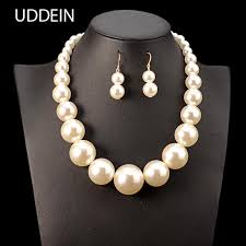 2019 uddein nigerian wedding indian jewelry sets big simulated pearl jewelry bridal necklace pendant fashion necklace for women from beijiaer