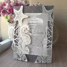 Beautiful Wedding Invitation Card Design 30pcs Beach Wedding Decoration Wedding Invitation Card Beach Invitation Card Laser Cut Seahorse And Shell Design For Marriage