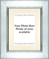 metallic silver effect photo picture frame with ivory mount choose size