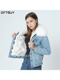 brand 2018 autumn winter jacket coat women holes denim jacket real large rac fur collar and real fox