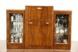 Art Deco 1930s Vintage Drop Front Bar Cabinet England