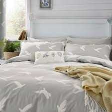 image of sanderson home paper doves mineral grey duvet cover double