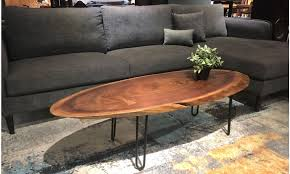 oval black walnut coffee table