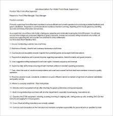 job description for hotel front desk supervisor sample housekeeping job duties
