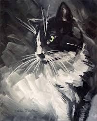 tuxedo cat original oil painting by diane irvine armitage