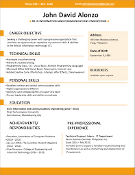 A lay out of a resume