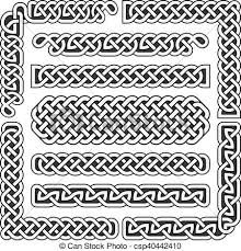 Medieval Patterns Unique Celtic Knots Vector Medieval Seamless Borders Patterns And