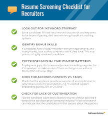 Applicant Resumes Resume Screening Checklist For The Best Candidate Shortlist