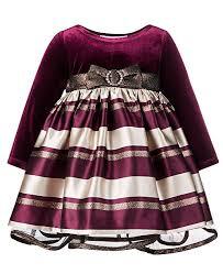 Baby Girls Velvet Jacquard Striped Dress