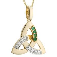 irish necklace 14k gold diamond emerald trinity knot pendant