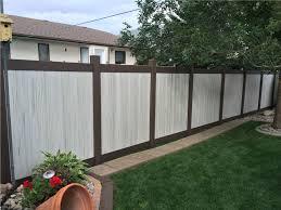 6u0027 tall twotone weathered aspen w dark walnut frame vinyl privacy fence two tone vinyl privacy fence 029 privacy