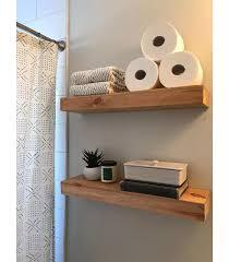 wood floating shelves bathroom shelf