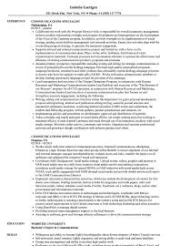 Communications Specialist Resume Communications Specialist Resume Samples Velvet Jobs 15