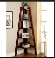Image is loading Corner-Shelf-Stand-Wood-5-Shelves-Display-Storage-