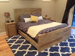 Queen Size Reclaimed Wood Bed Frame With Foot And Headboard On Blue ...