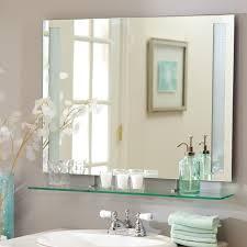 medium frameless bathroom mirrors with glass shelf for bathroom decor idea