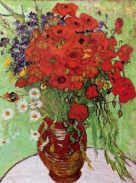 art artists vincent van gogh flowers part  1890 red poppies and daisies oil on canvas 65 x 50 cm