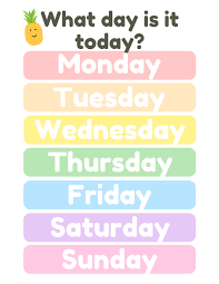 Days Of The Week Chart Learning The Days Of The Week English For Beginners And Kids