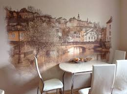 a great kitchen decoration idea wall painting in the dining
