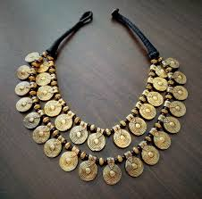 tbzss072 tribal double layer oxidized gold tone metal coin necklace