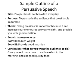 schedule lesson on persuasive speaking topics chosen for final  sample outline of a persuasive speech title people should eat breakfast everyday purpose to