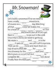Winter Mad Libs Winter Mad Libs - Mr. Snowman! – Classroom Jr ...