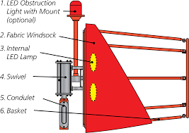 Windsock Pole Lights Airport Heliport Nylon Windsock Mast Assemblies Flight