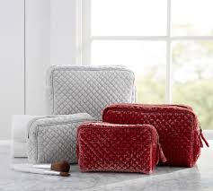 Quilted Soft Sheen Velvet Cosmetic Bags - Set of 2 | Pottery Barn & Quilted Soft Sheen Velvet Cosmetic Bags - Set of 2 Adamdwight.com