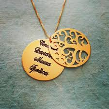 family name necklace solid 18k gold name necklace real gold tree name necklace real gold personal message necklace pure gold