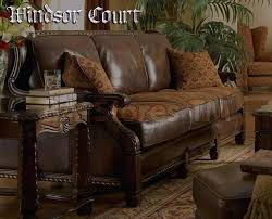 creative of fabric leather sofa wood trim court tan with cushions
