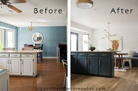 diy kitchen renovation with dark painted cabinets open shelving and more
