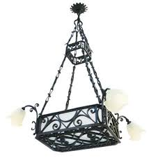 large antique wrought iron and frosted glass chandelier 3
