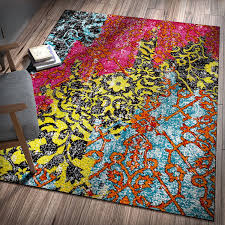 homey bohemian area rugs com treehouse patchwork multi pink red yellow