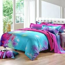 hot pink bed sets sky blue purple and dandelion print unique design full queen size bedding