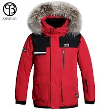 asesmay winter men down jacket 90 white duck down parkas with real fur collar mens