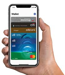 a hand holding an iphone with the screen featuring citi cards in the apple pay wallet