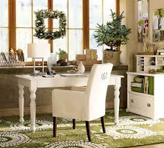 country office decor. Office Elegant White Country Decor With Green Floral Rug