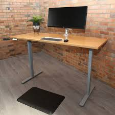 professional electric sit stand desk rubberwood