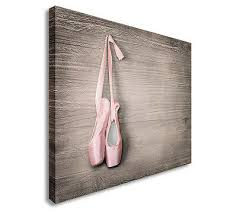 pink ballet shoes canvas wall art