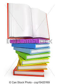 stack of colorful books with open book on the top csp15420189